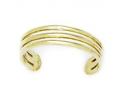 14k Yellow Gold Adjustable Triple Row Body Jewellery Toe Ring