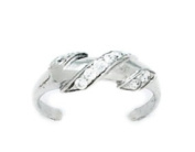 14k White Gold Cubic Zirconia Adjustable Spiral Body Jewellery Toe Ring