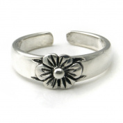 Sterling Silver Hawaiian Plumeria Flower Adjustable Toe Band Ring