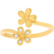 Brinley Co. Women's CZ Sterling Silver Flower Adjustable Toe Ring, Gold