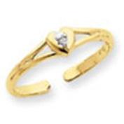 Yellow Gold .01ct Diamond Heart Toe Ring