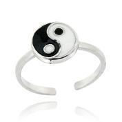 Sterling Silver Black & White Enamel Yin Yang Toe Ring
