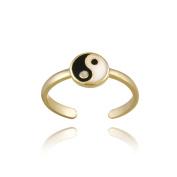 18k Gold over Sterling Silver Black & White Enamel Yin Yang Toe Ring