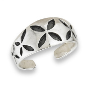 Women's New .925 Sterling Silver and Black Starburst Toe Ring