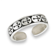 Women's New Black and .925 Sterling Silver Centre Crosses Toe Ring