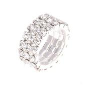 THZY Toe Ring Elastic 3-Rows rhinestones clear Wedding Jewellery 9mm