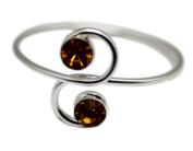 Amber Coloured Dual Rhinestone Toe Ring