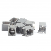 8 Pcs Plastic RJ11 Modular PCB Jack 6P4C Telephone Phone Connectors Black