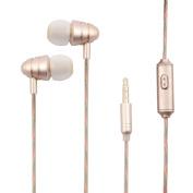 Phone Media Player 3.5mm Male Headset Earphone 1.2M Long Gold Tone