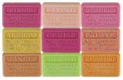 Set of 9 Marseille soaps with fruits perfumes