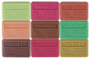 Set of 9 Marseille soaps with gourmet perfumes