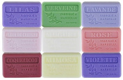 Set of 9 Marseille soaps with flowers perfumes