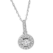 14K 1/3ct Floating Solitaire Pave Round Diamond Pendant