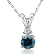 10k White Gold 1/4ct TDW Treated Blue and White Diamond Necklace