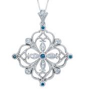 1/2ct Treated Blue & White Diamond Filigree Vintage Diamond Pendant 14K Gold