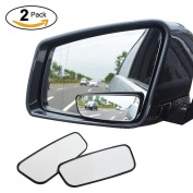 2pcs Blind Spot Mirror, KOBWA Square HD Wide Angle Adjustable Convex Rear View Mirror, Universal Stick on Car/ SUV/ Truck