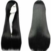 "S-noilite Full Wigs 32""(80cm) Long Straight Black Cosplay Wig Soft Bang Style"