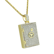 Safety Vault Pendant Safe Lock Charm Lab Created Cubic Zirconias 14K Yellow Gold Finish Stainless Steel 60cm Necklace