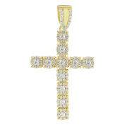 Flower Design Cross Pendant 925 Sterling Silver Gold Finish Simulated Diamonds