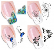 Milopon Nail Stickers Nail Art Stickers Decal Self Adhesive Tips Nail Decorating Diy 4Sheets