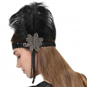 Ladies Indian Elastic Feather Sequins Headband with Rhinestone Decoration Minzhi