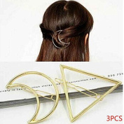 3pcs Gold Silver Triangle Moon Hairpin Hair Clip Clamps Hair Style Accessories Random Style Minzhi