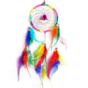 Ornament Feather Circle Bell Dream Catcher Wall Hanging Decoration Minzhi