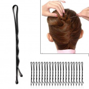 48pcs 40mm Black Wavy U Comb Grips Bobby Pins Hair Barrette Clip Minzhi