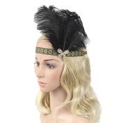 Black Ostrich Rhinestone Feather Headpiece Party Wedding Headband Flapper Hair Band Minzhi