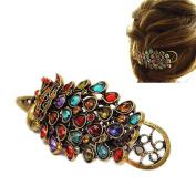 Vintage Women Crystal Peacock Hair Barrette Clip Hairpin Minzhi