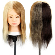 Neverland Beauty 36cm 100% Real Human 4 Colours Hair DIY Training Head Hairdressing Practise Mannequin Manikin Dolls Head With Table Clamp Holder