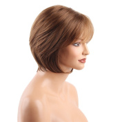 MagiDeal 30cm Women Lady Short Natural Straight Synthetic Hair Wigs With Cap Brown