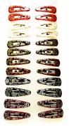 24 Hair Clips Multi-Colour (Hairpins) Modern Design (4.5 x 1 cm) High Quality