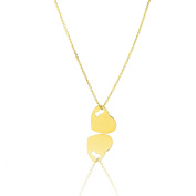 14k Yellow Gold 41cm - 46cm Extendable Heart & Key Love Charm Pendant Necklace for Women and Teen Girls