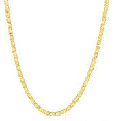 10k Yellow Gold Relationship and Friendship Mirror Chain Necklace with Double Side Heart Charms with Lobster Claw Clasp