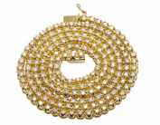 10K Yellow Gold Men's One Row Real Diamond Prong Chain Necklace 6CT 4MM