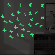 2SETS Luminous Wall Stickers Glow Dragonfly Tied Creative Children's Room Bedroom Home Decor