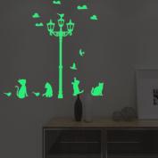 Luminous Wall Stickers Glowing Kitten Sticker Creative Children Room Bedroom Home Decor