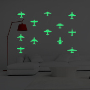 2SETS Luminous Wall Stickers Glow Aircraft Shape Paste Creative Children's Room Bedroom Home Decoration