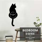 Cooljun Popular Cute Cartoon Cat Wall Clock Watch Way Tail Move Silence Home Decoration