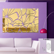 LItie Waist line square wall pasted home decoration three-dimensional acrylic mirror decorative applique waterproof can be removed,Golden,large