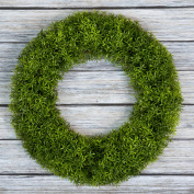 Boxwood Wreath, Artificial Wreath for the Front Door by Pure Garden, Home Décor, UV Resistant - 50cm