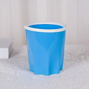 CWAIXX Trash with compression ring Household waste basket bathroom kitchen plastic storage bins without cover , Small blue