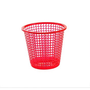 CWAIXX Plastic hollow out small trash trash home living room kitchen bathroom Office waste-paper basket paper basket without cover , Small red