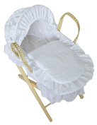 Luxury British Made Palm DOLLS Moses Basket With Broderie Anglaise Dressing/Covers. Inc Folding Stand