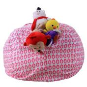 Culater® 41cm Stuffed Animal Storage Bean Bag Kids Plush Toy Pouch Stripe Fabric Chair