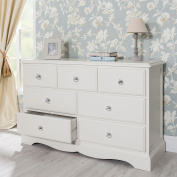 Romance Antique White Large Chest of Drawers with crystal handles