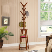 FEIFEI Coat Rack Multifunction Solid Wood Floorstanding Hangers 191*45*45CM