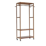 FEIFEI Coat Racks Coat Rack Bamboo Floorstanding 4 Hooks It Can Move Large Capacity stable and durable