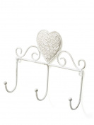 Iron coat rack 3 heart shaped resin Hooks